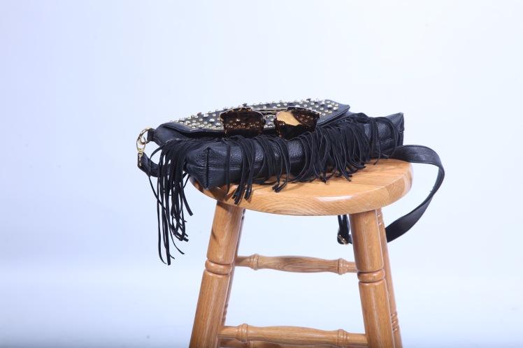 studded fringe bag