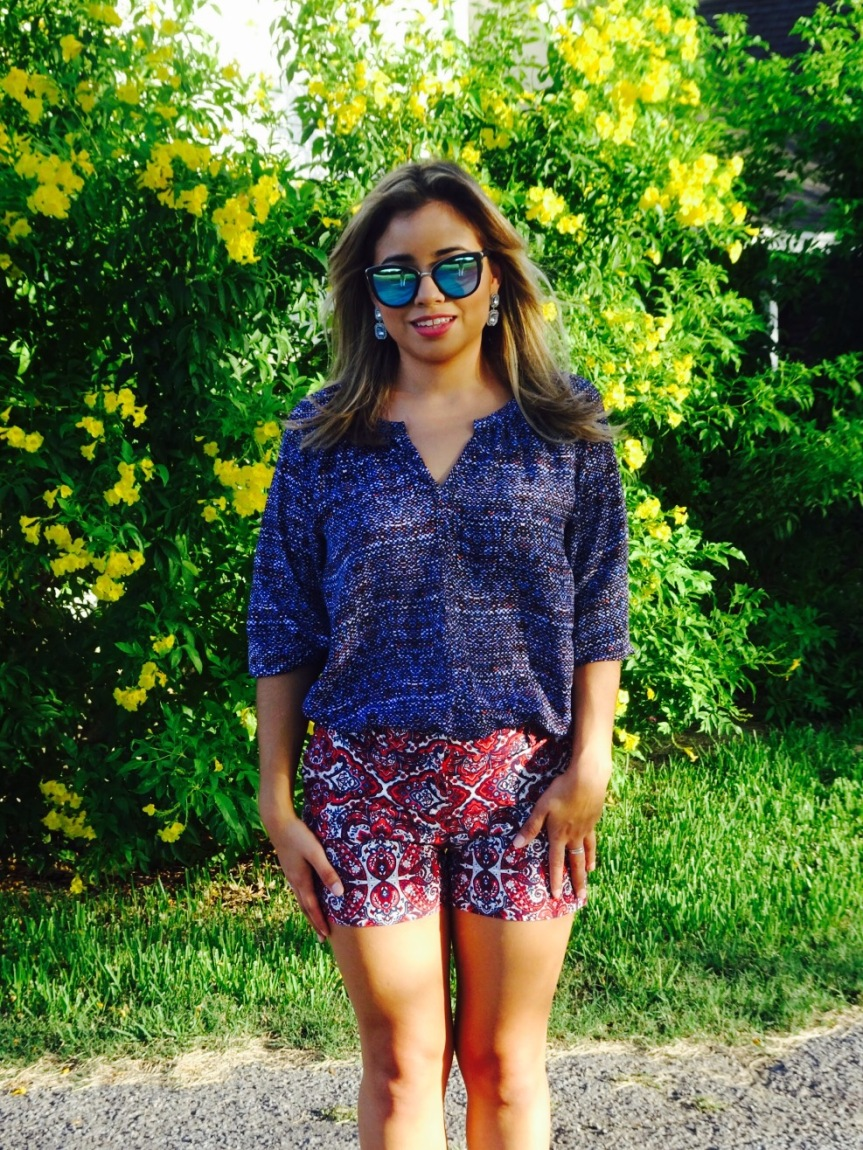 mixed print outfit